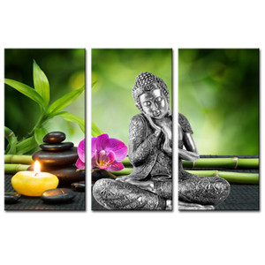 Wholesale Bamboo Background Simple Buddha and Flowers Modern Decorative Artwork Wall Painting Unframed Pieces Canvas Wall Art for Bedroom Decor