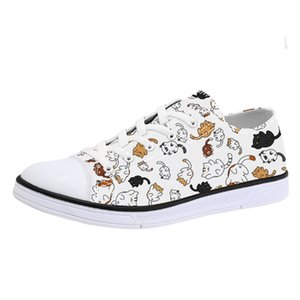 Wholesale 2019 New Style Unique Cats Print Canvas Shoes for Men Woman Animal Print Casual Sneakers for Teenagers Boys Girls Lace Up Flats