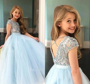 Wholesale Lovely Light Sky Blue Girls Pageant Dresses Rhinestones Beaded Top Sheer Cap Sleeve Ribbon Belt Long Kids Formal Party Gowns Birthday Dress