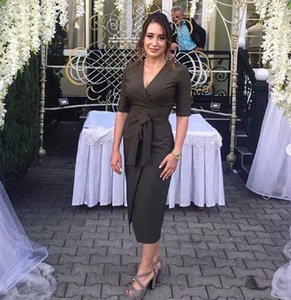 2019 Luxury Arabic v neck Evening Dresses short sleeves tea Length elegant Prom Formal dress custom made plus size Special Occasion dress on Sale