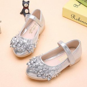 Wholesale Bling Bling Pearl Beading Sandals Kids Children Princess Wedding Prom Designer Shoes Beaded High Heels Dress Party Shoes For Girls