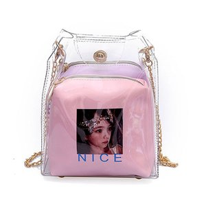 Women Small Bucket Bags Spray Map Plastic Transparent Totes Composite Chain Bag Mini Jelly Handbags