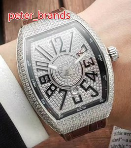 Wholesale full iced diamond men s watch all diamond barrel stainless steel silver and rose diamond watch original buckle