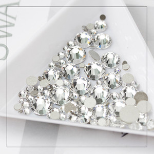 Wholesale diamond rhinestone gems resale online - 3D Nail Art Decoration Blazed Drill Diamond Crystal Gems AB White Colorful Rhinestone Mixed Size DIY Shiny Nail Stones Accessories Tips Tool