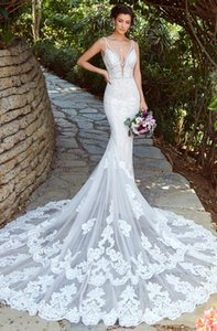 Wholesale Vestido de Novia Mermaid Wedding Dresses Sexy Deep V Neckline Lace Wedding Dress Bridal Gowns Abiti da Sposa