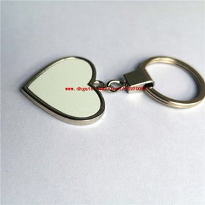 Wholesale boys ring price resale online - sublimation blank heart shape metal key chains ring hot transfer printing keychains consumables can two sided printing factory price