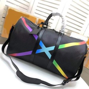 Wholesale brand fashion women men Rainbow luggage travel duffel bags purses M30345 keepall band bags tote clutch shoulder shopping bags