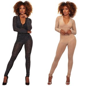 Wholesale Fashion Bodycon Jumpsuit Black Khaki Full Sleeve Lace Jumpsuit Deep V Neck Sexy Club Wear Size S XL