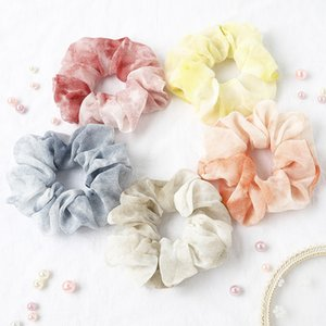 Wholesale silver hair dyes resale online - Cute Chiffon Scrunchies Women Tie Dye Scrunchy Elastic Hair Bands Girls Hair Accessories Print Ponytail Holder Rubber Hair Ties