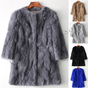 Wholesale Ethel Anderson Real Rabbit Fur Coat Women s O Neck Long Rabbit Fur Jacket Sleeves Vintage Style Leather Fur OutwearMX191009