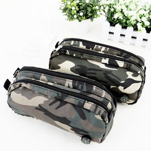 Wholesale Boys Cool Camouflage Zipper Pencil Bag Canvas Pen Case School Pencil Case Stationery Compass Pencil Box School Supplies