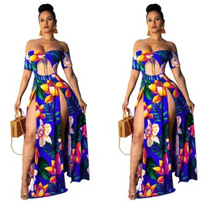 Maxi Summer Dress Women Beach Print Off Shoulder Slash Neck Short Sleeve Cut Out High Side Split Slim Hollow Out Sexy Party Dresses
