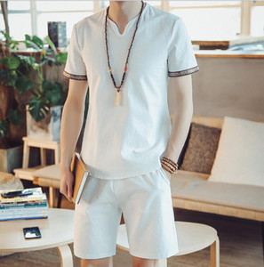New hot summer style men's suits short-sleeve mens large size cotton and linen Chinese style t-shirt Set M-5XL on Sale