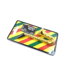 Wholesale smallest saxophone resale online - Creative Saxophone Portable Mesh Filtration Pipe Smoking Card for Small Pipe Metal Tobacco