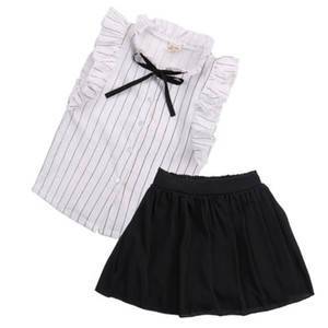 Wholesale Summer Children Clothing 2018 New Kids Girls Sleeveless Ruffles Tops+Tutu Skirt 2pcs Outfit Fashion Baby Girls Clothes Set 2-7Y