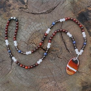 Wholesale 8mm Dream Red Onyx And Dream Red Onyx Pendant JapaMala Necklace Chakra Stones Mala Buddhist Mala Prayer Bead mala Mala Beads
