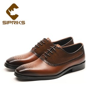 Wholesale Sipriks Mens Designer Oxfords Brown Grain Leather Formal Gents Shoes Classic Elegant Square Toe Office Shoes Male Wedding Party