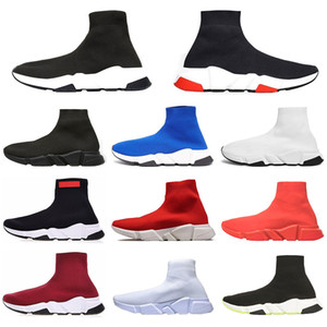 New Paris ACE Designer Speed Trainer high quality men women sports Sneakers triple black Boots platform Red Flat Socks Casual shoes Runner