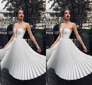Little White Deep V Neck Short Party Dresses Tea Length Wrinkles Ruffle Skirt Women Causal Dress Cheap Cocktail Gowns 2036