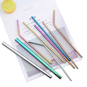 Wholesale stainless steel cleaners resale online - 304 Stainless Steel Reusable Drianking Straws Sturdy Bent Straight Colorful Metal Straws with Cleaner Brush Kitchen Accessories