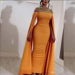 Arabic Yellow Satin Long Prom Dresses 2020 Stunning Beaded Crystals Abendkleider Dubai Evening Gowns Back Slit Formal Party Dresses on Sale