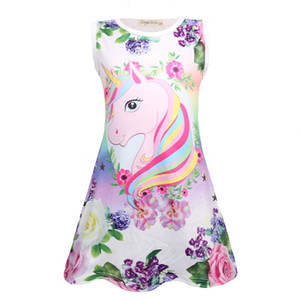 Girls Unicorn Dress 2019 Kids One-Piece Dresses For Girls Girl Night Dress Kids Summer Casual Clothes For 110-150