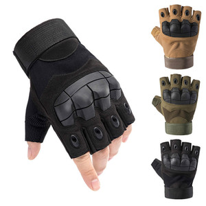 Motorcycle Cycling Riding Tactical Gloves Men's Hard Knuckle Fingerless Gloves Bicycle Shooting Paintball Airsoft Motor Half Finger Gloves on Sale