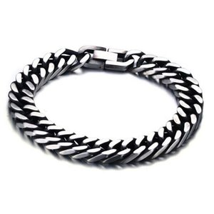 Wholesale 8MM MM Wide High Polished Mens Cuban Stainless Steel Curb Link Chain Bracelet