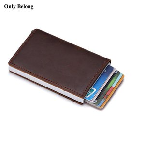 Wholesale Genuine leather aluminum Wallet ID Blocking Wallet Automatic Pop up Credit business Card Case Protector