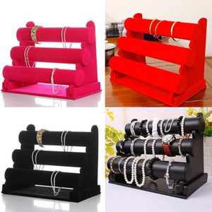 Wholesale jewelry holders resale online - Black Velvet Tier Jewelry Bracelet Watch Bangle Display Holder Stand Showcase T bar Storage Necklace Bangle Organizer