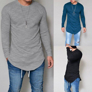 Autumn Men's T-Shirt Solid Color Bottoming Shirt Long Sleeve Slim Round Neck Top Comfortable Breathable 10 Colors Optional Free Shipping
