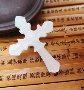 Wholesale natural xinjiang white jade for sale - Group buy Hetian sheep fat grade Afghan white jade cross pendant natural Xinjiang men and women safe pendant