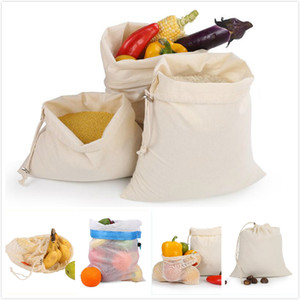 New Practical Reusable sShopping Bag Reusable Washable Solid Drawstring Home Outdoor Shopping Mesh Bag Storage bags