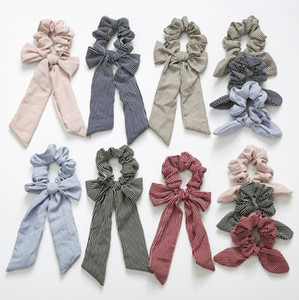 Wholesale INS Stripe Hair Scrunchies Bow Women Accessories Hair Bands Ties Scrunchie Ponytail Holder Rubber Rope Decoration Big Long Bow Bunny Ears