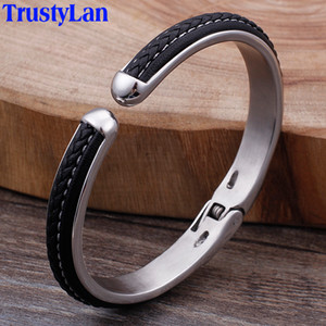 Wholesale ashion Jewelry Bangles TrustyLan Mens Braided Leather Cuff Bracelets Bangles For Men Stainless Steel Jewellery MM Wide Open Bangle Ar