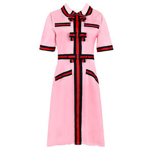 Wholesale 2019 Summer Dresses New G Bow Sweet Girl Pink College Wind Chiffon Waist Short sleeved Dress Skirt Women Clothes Panelled Lapel SIZE S XL