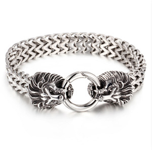 Outdoor Biker Mens Stainless Steel Lion Head Link Curb Chain Bracelet with Spring Ring Clasp 8.7 Inch