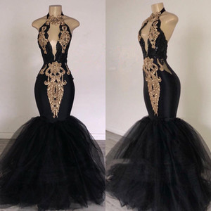 Wholesale picture hand made wool resale online - Black Girls Prom Dresses Mermaid Halter Neck Key Hole Bust Lace Tulle Formal Evening Gowns Cocktail Party Quinceanera Sweet Dress