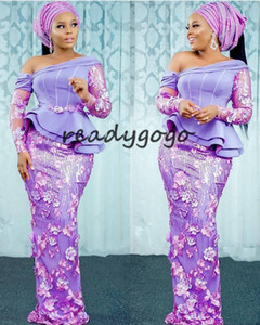 Aso Ebi Style Lavender Evening Pageant Dresses with Long Sleeve 2020 Lace 3D Floral African Nigerian Prom Party Bridesmaid Dress on Sale