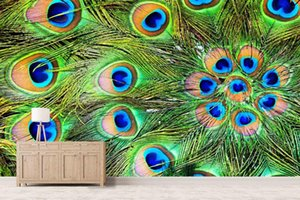 Wholesale Self Adhesive D Peacock Feather Wall Paper mural Wall Print Decal Murals