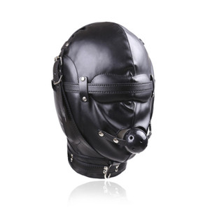 Wholesale Sex Fetish PU Hood Headgear with Mouth Ball Gags Masks BDSM Bondage Sex Mask Adult Games Sex Product for Couples J10