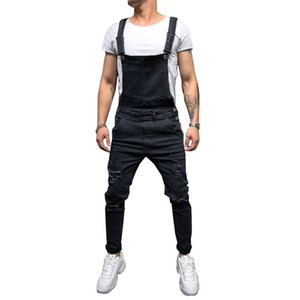 Fashion Men's Ripped Jeans Jumpsuits Street Distressed Denim Overalls For Man Suspender Pants
