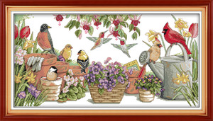 Wholesale bird drawing resale online - Birds gather in garden Drawing decor paintings Handmade Cross Stitch Embroidery Needlework sets counted print on canvas DMC CT CT