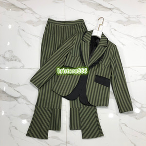 Women Fashion Luxury Designer Striped Print Two Piece Pants Lapel Neck Tops Print Blazer Jacket+Flare Pants Female Runway Sets Suit