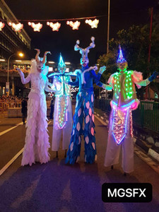 Wholesale LED Stilts walker costumes LED Light Suits LED Robot for Burning Man Halloween Holiday Festival Dance Event