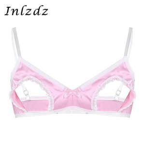 Wholesale Men s Sissy Bra Lingerie brassiere Spaghetti Straps Hollow Out Bra Nipples Wire free Underwear No Padded Mens Bandage Tops
