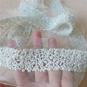 Wholesale Ivory Pearl Beaded Lace Ribbon Trim Netting Lace Fabric Mesh Fabric Beading Trim For Jewelry Headpiece Costume Sash Belt