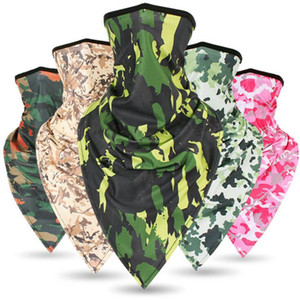 Wholesale Ice Silk quick drying Camouflage Triangle mask breathable riding mask Military Tactical scarf Sunscreen Windproof trianglemask LJJZ17