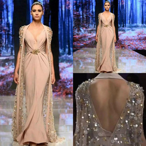 Wholesale Elie Saab 2020 Mermaid Evening Dresses With Cap Hollow Back Luxury Heavy Beaded Work Champagne Blush Arabic Occasion Prom Dress