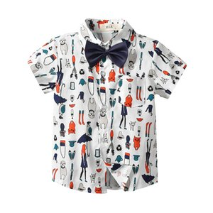 Wholesale New kids summer clothes boys Shirts Cartoon Short Sleeve bow tie Kids Shirts cotton Kid Tshirt kids designer clothes boys clothes A5182